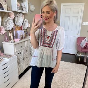 THML Embroidered Puff Sleeve Top